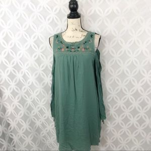 Annabelle Embroidered Boho Cold Shoulder Dress